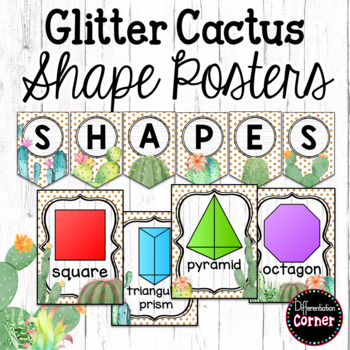 Cactus Classroom Decor Shape Posters by Differentiation Corner TpT