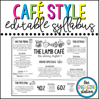 Cafe/Restaurant/Placemat Syllabus Template by The Engaging Station - syllabus template
