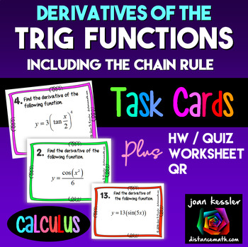 Calculus Derivatives of Trigonometric Functions w/ Chain Rule Task