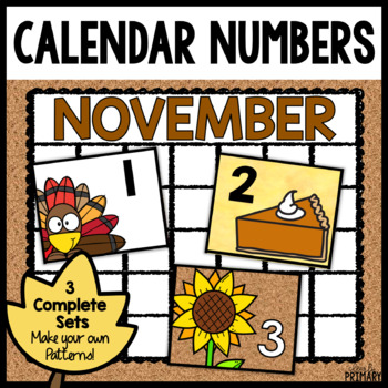 Calendar Numbers for November by Clearly Primary TpT