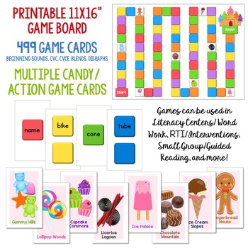 Candy Land BUNDLE Beginning Sounds, CVC, CVCe, Blends and Digraphs