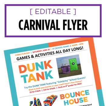 Carnival and Dunk Tank Flyer - Editable Fundraiser Ad TpT