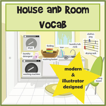 Room and House Vocabulary Pictures / Flashcards and Posters by Meg - vocab flashcards