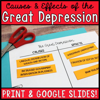 Causes and Effects of the Great Depression Card Sort TpT
