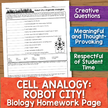 Cell Analogy Worksheets  Teaching Resources Teachers Pay Teachers