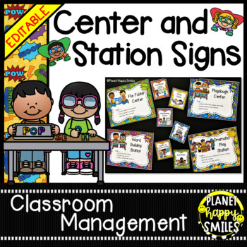 Center Signs ~ Station Signs (Super Hero) ~ EDITABLE by Planet Happy