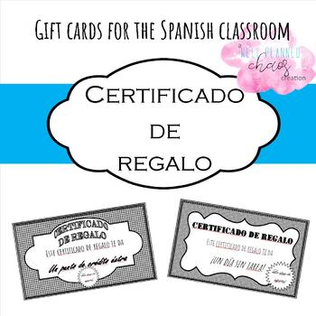 Certificados de regalo (Spanish classroom gift cards) by Well