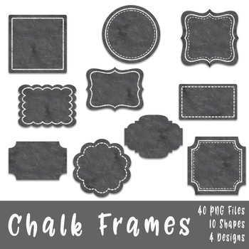 Chalk Frames and Borders Clip Art - 40 png files - 10 shapes in 4 - chalk borders