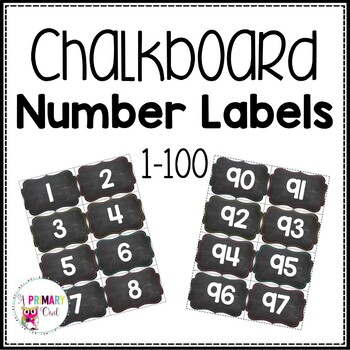 Chalkboard Number Labels 1-100 by A Primary Owl TpT