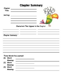 Chapter Summary Worksheet Template by The Special Nook | TpT
