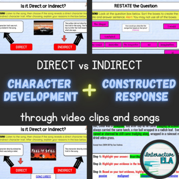 Character Development + Constructed Response Direct/Indirect