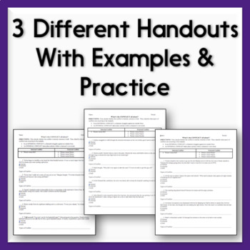 Characterization Practice Sheets - 3 Handouts on Direct  Indirect