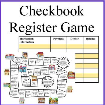 Checkbook Register Money Math Game by Debbie Madson TpT