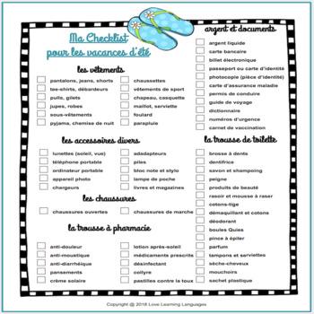 Checklist pour les vacances d\u0027été - French summer vacation checklist