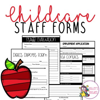 Childcare / Daycare Staff Forms by Ashley\u0027s Goodies TpT