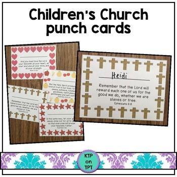 Children\u0027s Church Punch Cards (Positive Behavior Incentive Program) - punch cards