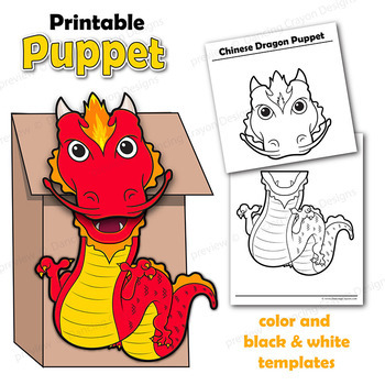 Chinese Dragon Craft Activity Paper Bag Puppet Template TpT