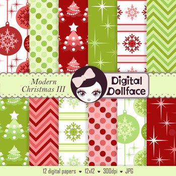 Christmas Digital Backgrounds / Holiday Paper (printable) by Digital