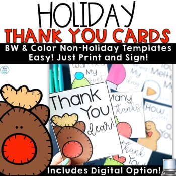 Christmas Holiday Thank You Note Cards by Think Grow Giggle TpT