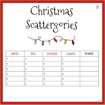 Christmas Scattergories Teaching Resources Teachers Pay Teachers