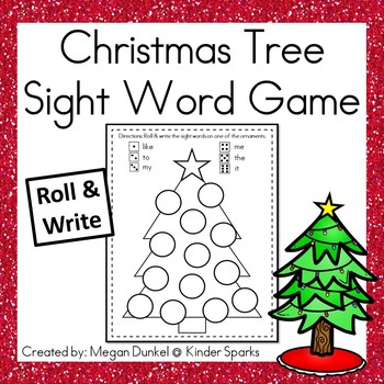 Christmas Sight Words- Roll and Write by Kinder Sparks TpT - christmas tree words