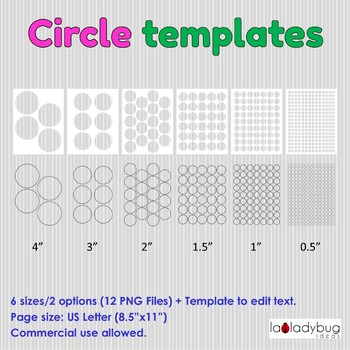 Circles templates Clip art for commercial use Round label template 6