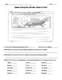 Civil War- Slave or Free Map Worksheet by Rebecca Miller | TpT
