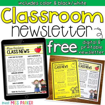 Newsletter Template Editable Free (Digital  Printable) by Meet Miss