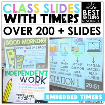 Class Slides with Timers {Editable} by Teach Create Motivate TpT