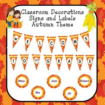 Classroom Decor Editable Signs and Labels Autumn Theme by Sally Boone