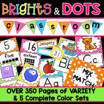 Classroom Decorations Alphabet Posters Number Labels Polka Dots TpT