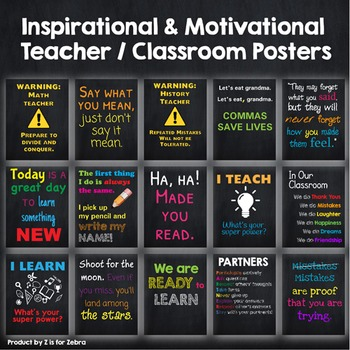 Classroom Motivational and Inspirational Posters - 40 pages! by Z is