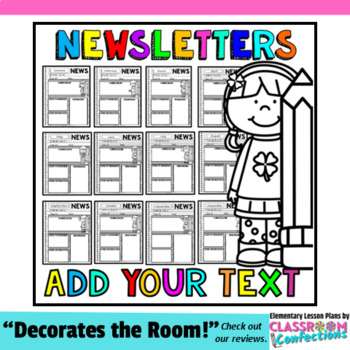 Classroom Newsletter Templates Editable Newsletters by Elementary