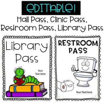 Classroom Passes - Hall Pass, Library Pass, Restroom / Bathroom