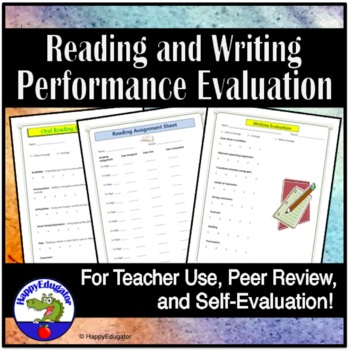 Classroom Performance Evaluation Sheets for Reading and Writing TpT - performance evaluation