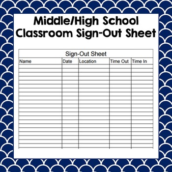 classroom sign out sheet by the social studies showroom tpt