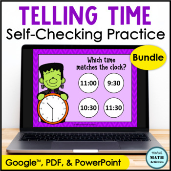 Click and Check Telling Time BUNDLE - Halloween Edition TpT