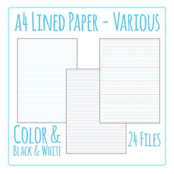 Lined Writing Paper Clip Art Pack for Commercial Use by Hidesy\u0027s Clipart - color lined paper