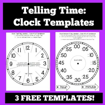 Telling Time Clock Templates and Foldables by The Owl Teach TpT - clock templates