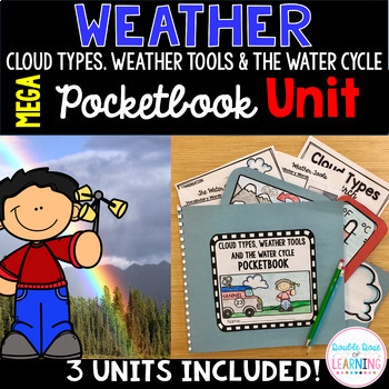 Cloud Types, Water Cycle, Weather Tools BUNDLE Research Unit and 3 - types of power points