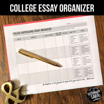 FREE College Admissions Essays Prompt Organizer by Secondary Sara