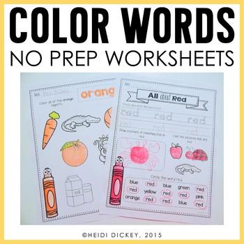 Color Word Worksheets by Heidi Dickey Teachers Pay Teachers