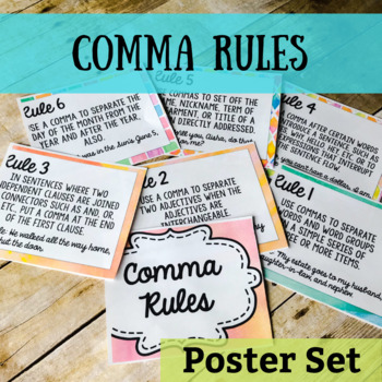 Comma Rules Packet Teaching Resources Teachers Pay Teachers