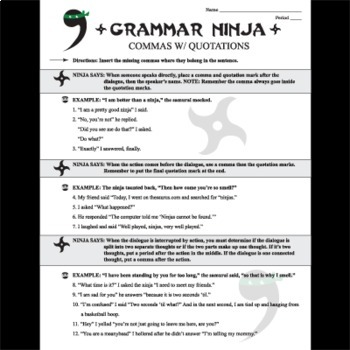 Commas w/ Quotations  Dialogue - Grammar Ninja by Created for