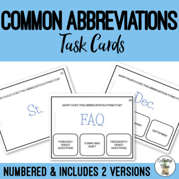 Common Abbreviations Task Cards - Life skills business job application