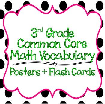 Common Core 3rd Grade Mathematics Vocabulary Posters  Flash Cards