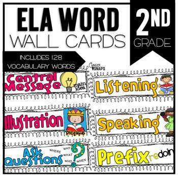 Common Core ELA Vocabulary Cards for 2nd Grade by Ginger Snaps TpT