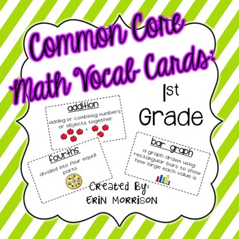 Common Core Math Vocabulary Cards Grade 1 by Erin Morrison TpT - vocab cards