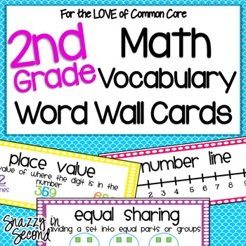 Math Vocabulary Cards for 2nd Grade {Common Core} TpT