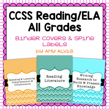 Common Core Reading ELA Binder Covers and Spine Labels by Amy Alvis